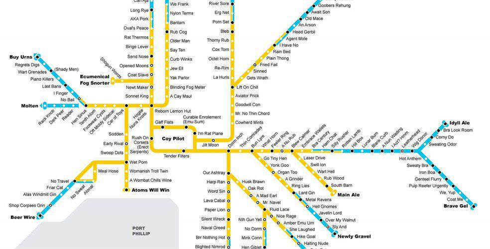 Some legend created an anagram Melbourne Train Map